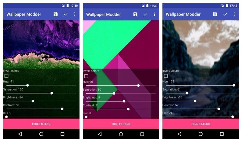 Giao diện ứng dụng Wallpaper Modder