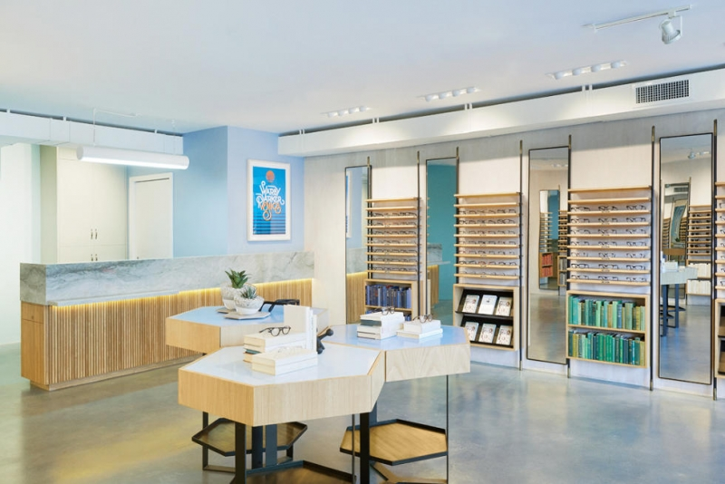 Một phòng trưng bày sản phẩm của Warby Parker