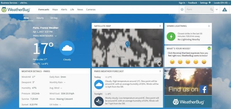 Giao diện của trang web thời tiết WeatherBug