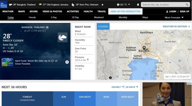 Giao diện của trang web thời tiết Weather.com
