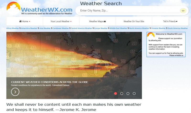 Giao diện của trang web thời tiết Weather WX
