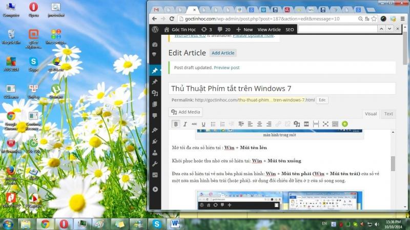 Thu nhỏ cửa sổ với tổ hợp Windows + Mũi tên xuống
