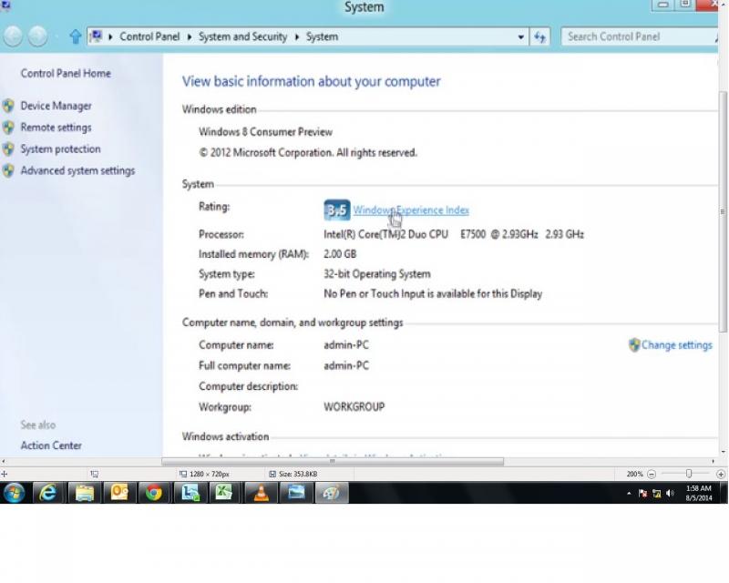 Tới hôp thoại System Properties với Windows + Pause/Break