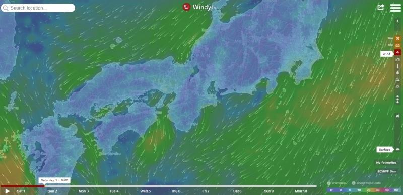 Giao diện của trang web thời tiết Windytv