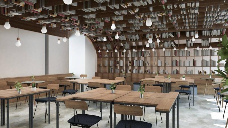 Không gian rộng rãi, thoáng của Work Cafe Hà Nội rất thích hợp cho công việc