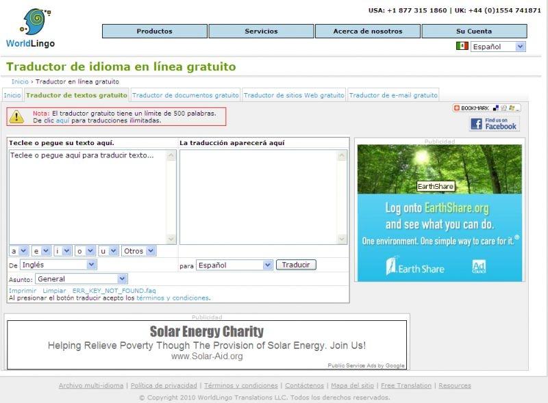 WorldLingo là trang web dịch thuật miễn phí giúp dịch một đoạn hay cả trang web một cách nhanh chóng