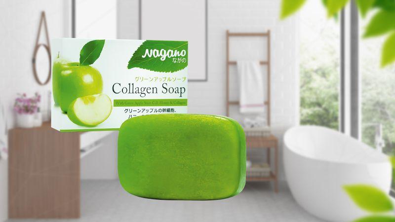 Xà phòng rửa mặt chiết xuất táo xanh và collagen Nagano Green Apple Collagen Soap