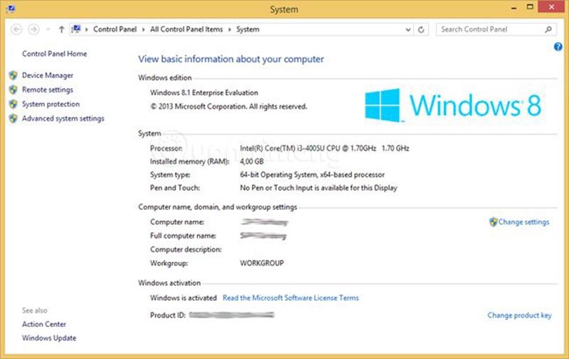 Các thông tin cơ bản về máy tính của bạn được cập nhật tại cửa sổ này