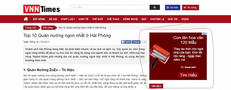 Trang web copy bài viết Toplist.vn đặt quảng cáo adsense tạo doanh thu