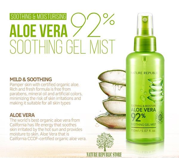 Xịt khoáng Nature Republic Soothing & Moisture Aloe Vera 92% Soothing Gel Mist