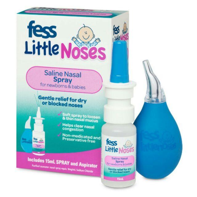 Xịt trị nghẹt mũi, sổ mũi cho bé Fess Little Nose Spray 15 ml