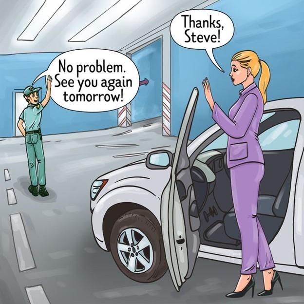 Yêu cầu nhân viên bảo vệ đưa bạn đến chỗ để xe của bạn dưới hầm