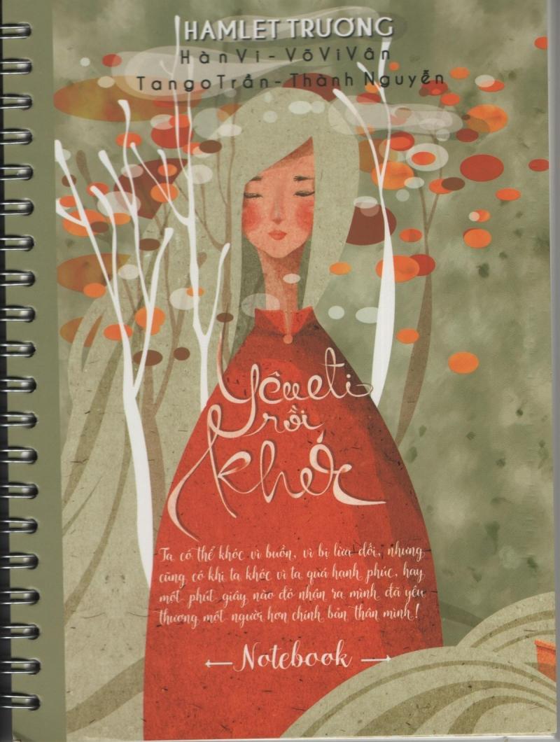 Bìa sách với tông màu đỏ chủ đạo của cuốn Yêu đi rồi khóc