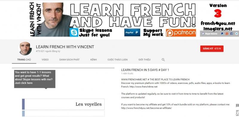 Đây là trang giao diện của Vincent một trong những giảng viên dạy tiếng Pháp hay nhất hiện nay