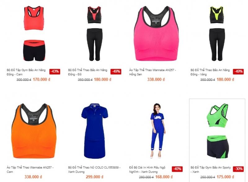 Các sản phẩm đồ thể thao nữ được bày bán tại Zanado