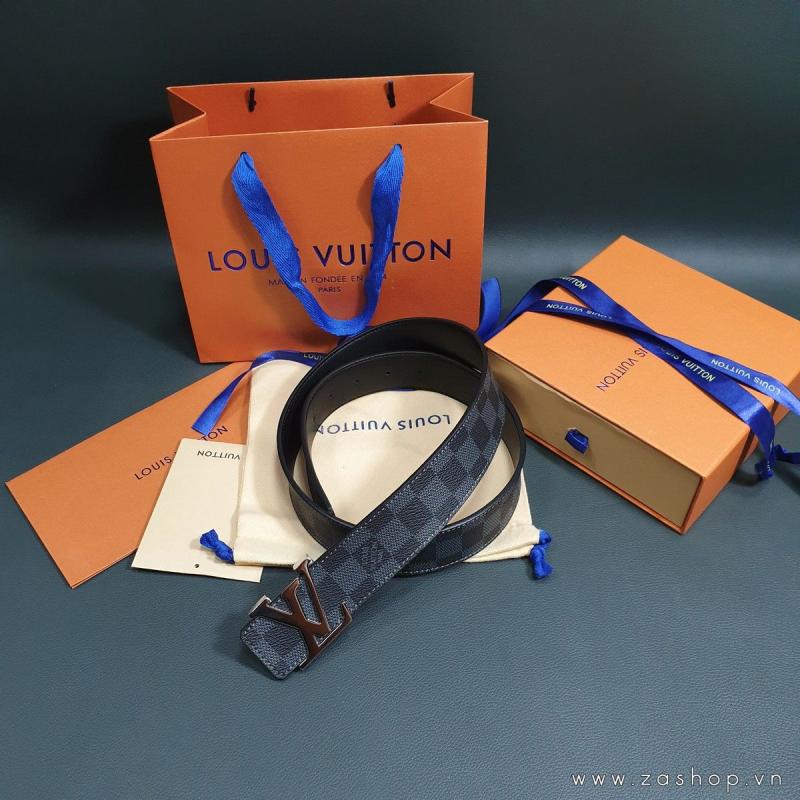 Dây nịt Louis Vuitton SF fullbox mặt bạc Silver bóng caro đen