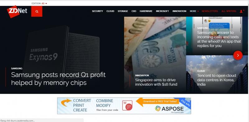 Giao diện trang web ZDNet.com