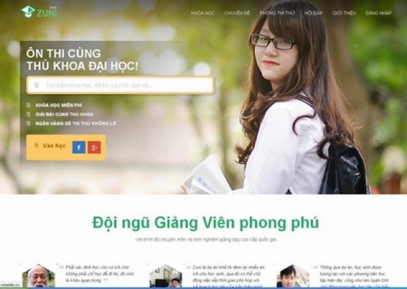 Website luyện thi đại học Zuni.vn