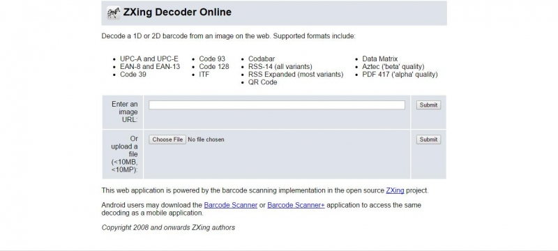 ZXing có giao diện còn đơn giản